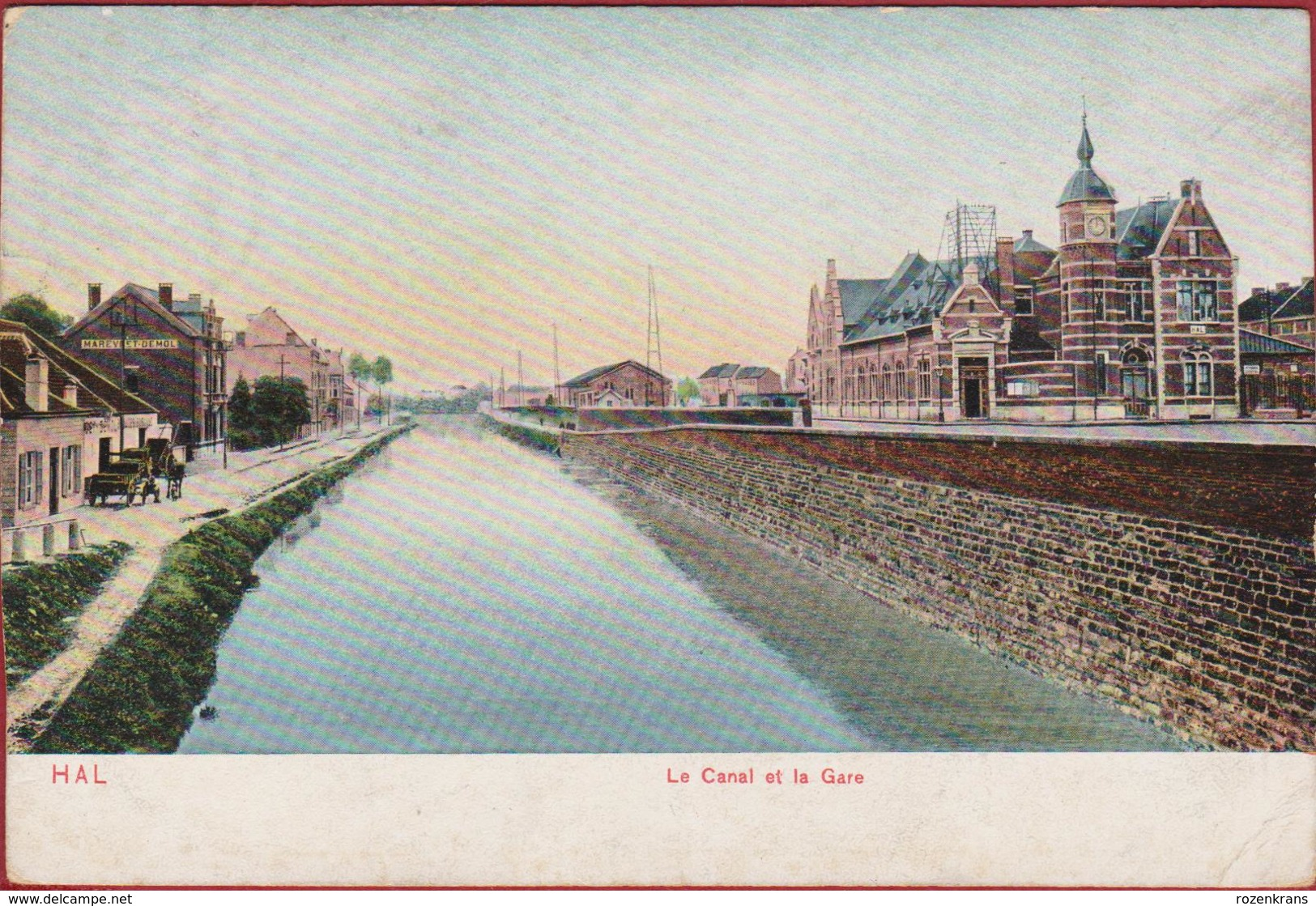 Halle Hal Le Canal Et La Gare Kanaal En Station - Halle