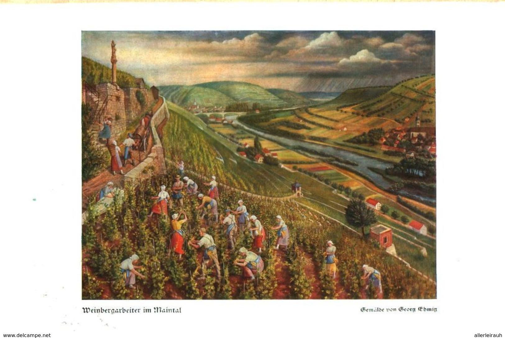 Weinbergarbeiter Im Maintal (nach Einem Gemälde Von Georg Emich) / Druck, Entnommen  Aus Zeitschrift /1938 - Bücher, Zeitschriften, Comics