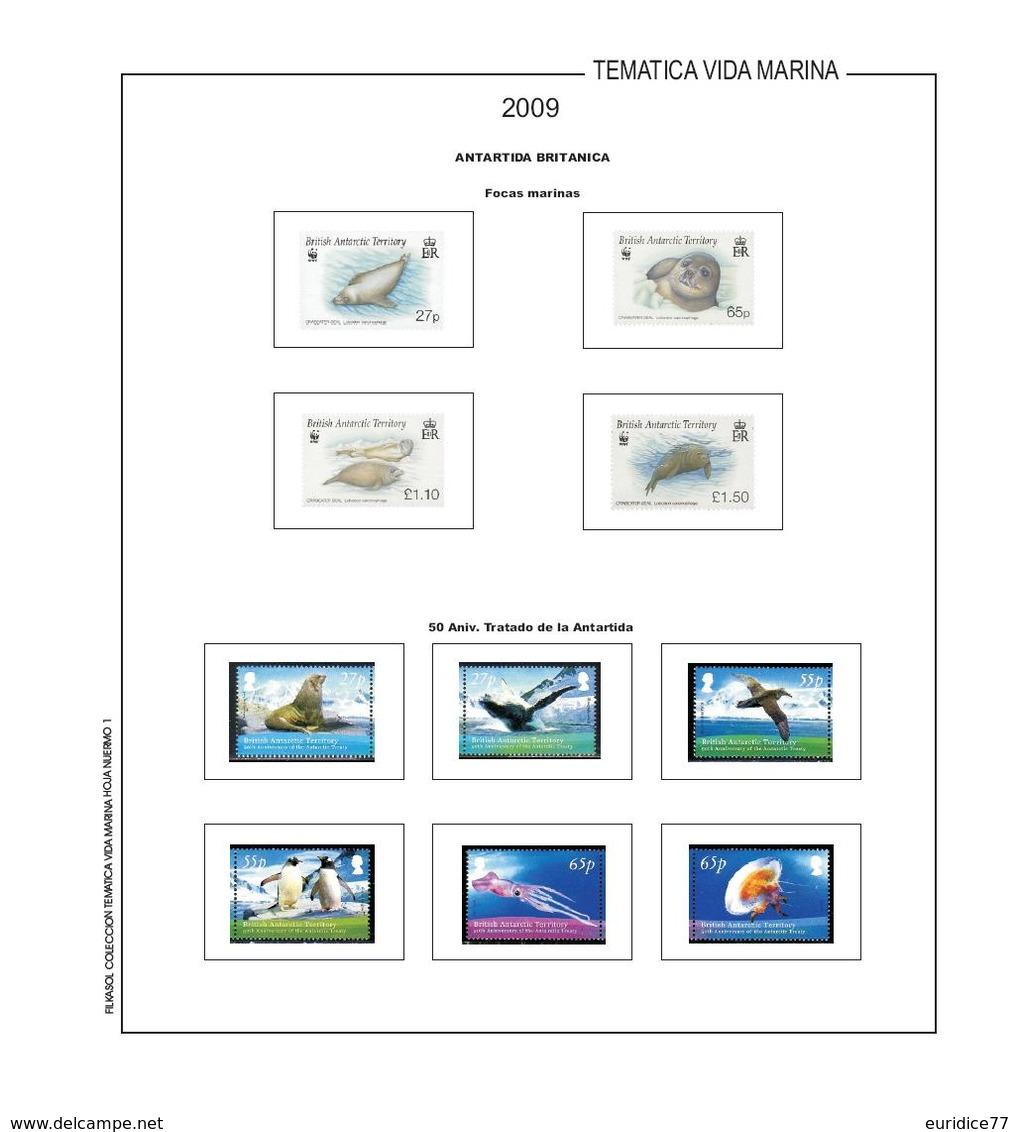 Suplemento Filkasol TEMATICA VIDA MARINA 2009 - Montado Con Filoestuches HAWID Transparentes - Pre-Impresas