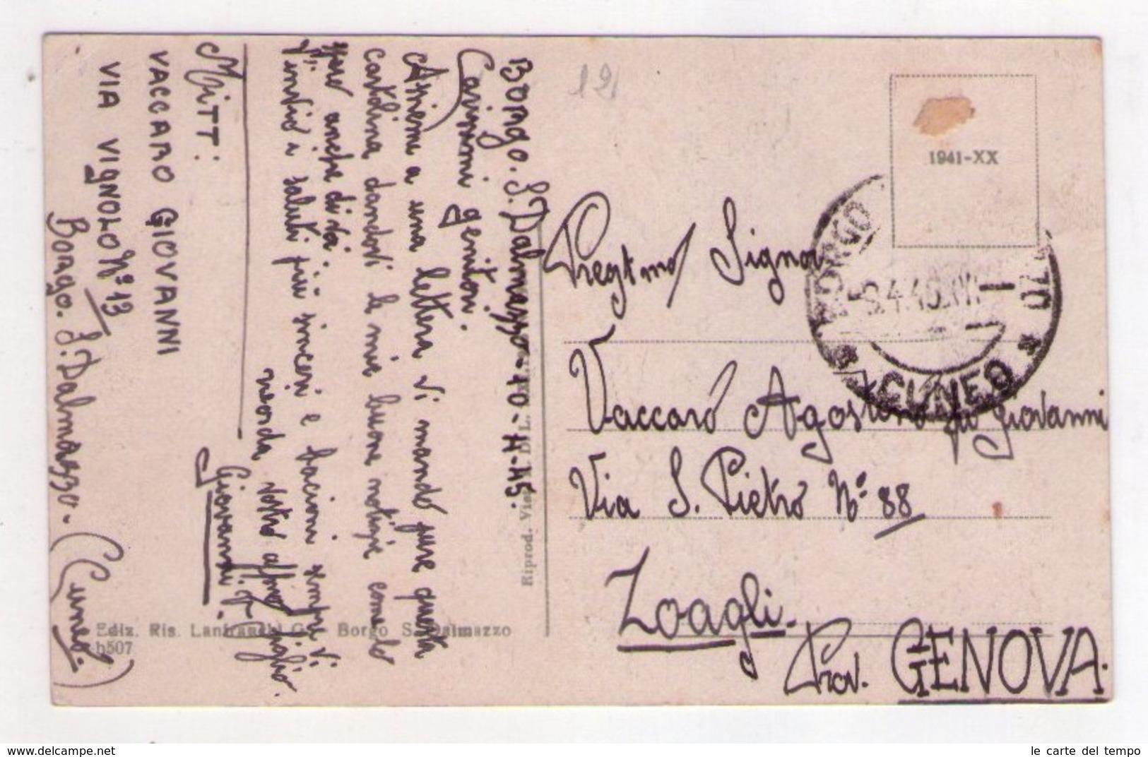 Cartolina/postcard Un Saluto Da Borgo San Dalmazzo - Via Umberto I (Prov. Cuneo). 1945 - Cuneo