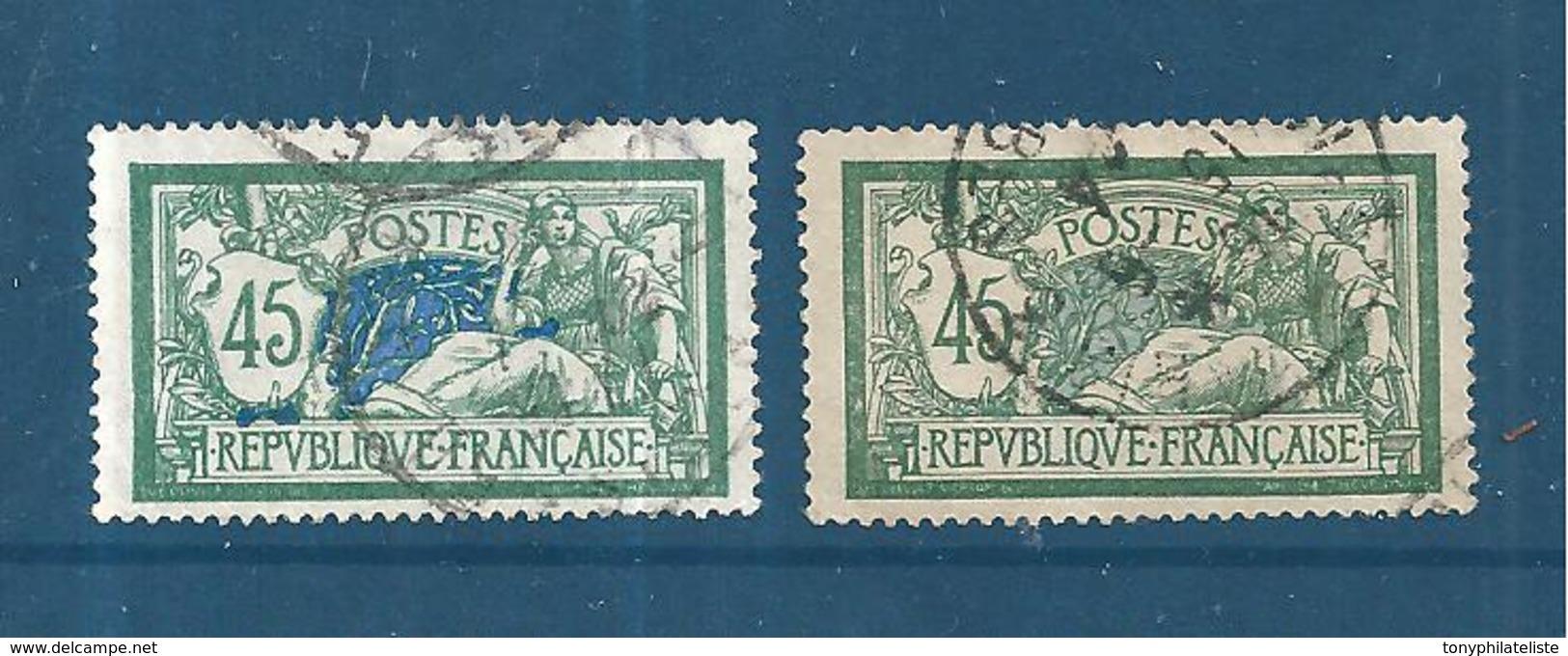 France Type Merson De 1907 N°143 Et 143a (sans Teinte De Fond) Oblitérés  Cote 767€ - 1900-27 Merson