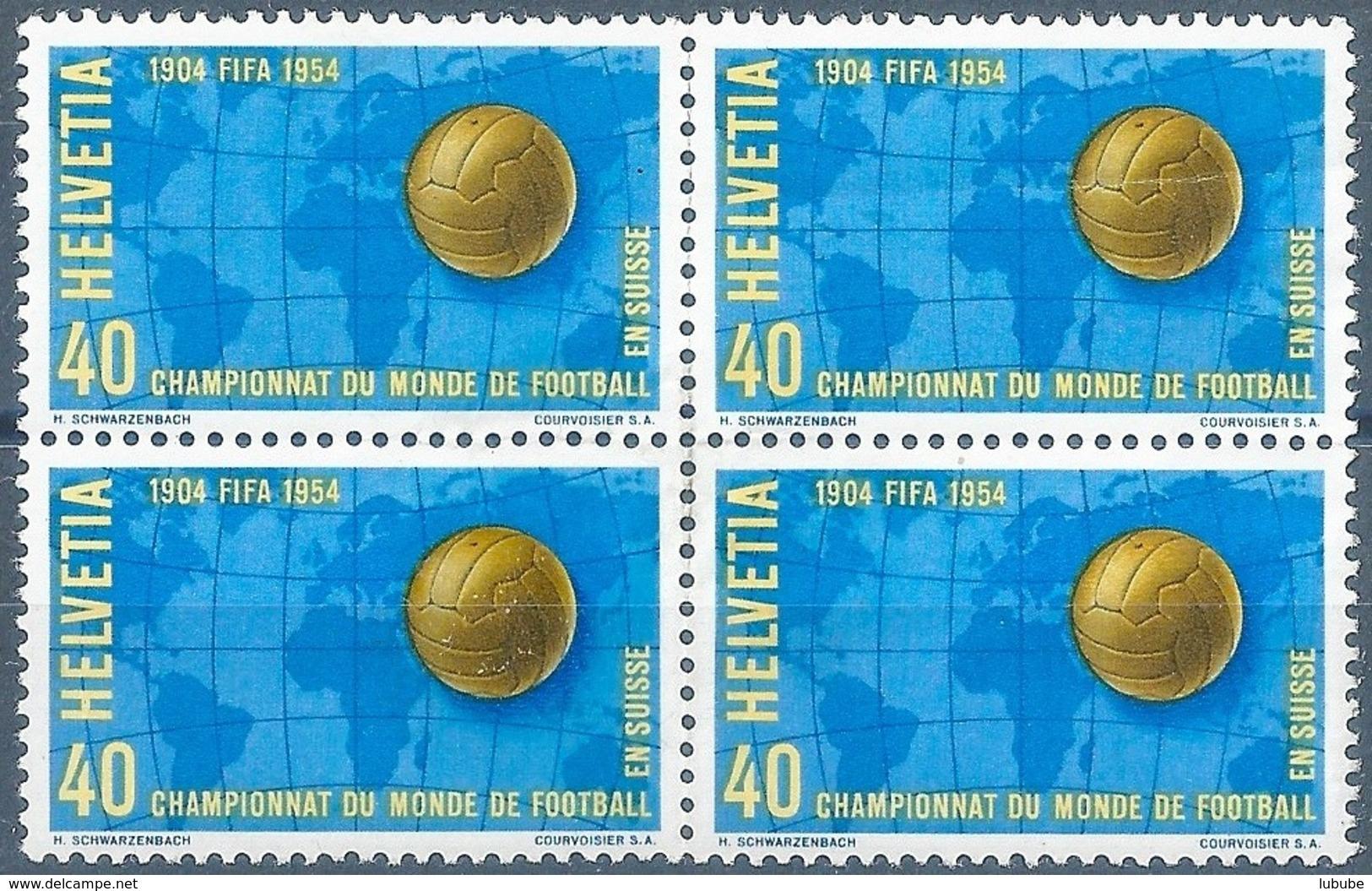 """Viererblock  """"Fussball WM In Der Schweiz""""             1954 - Nuovi"""