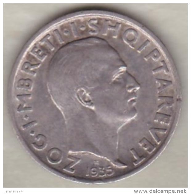 Albanie. 1 Frang Ar 1935 . Zog I.  Argent .KM# 16 - Albanie