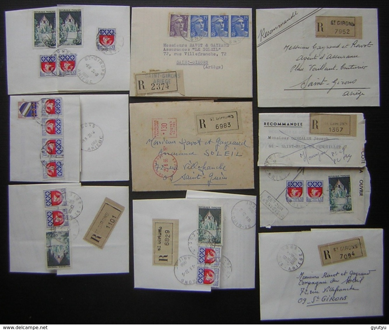Saint Girons Ariège Lot De 9 Lettres Recommandées, Nombreux Timbres Voir Photos - Marcophilie (Lettres)