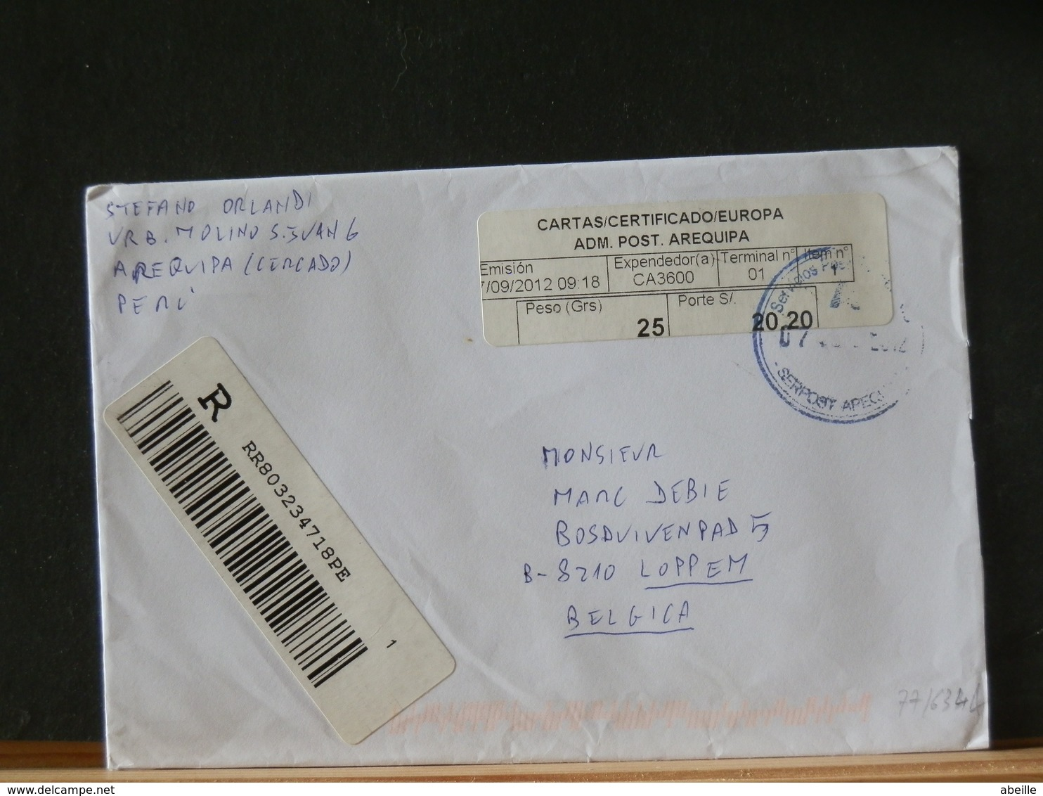 77/634A  LETTRE RECOMM.  POUR BELG.2012 - Peru