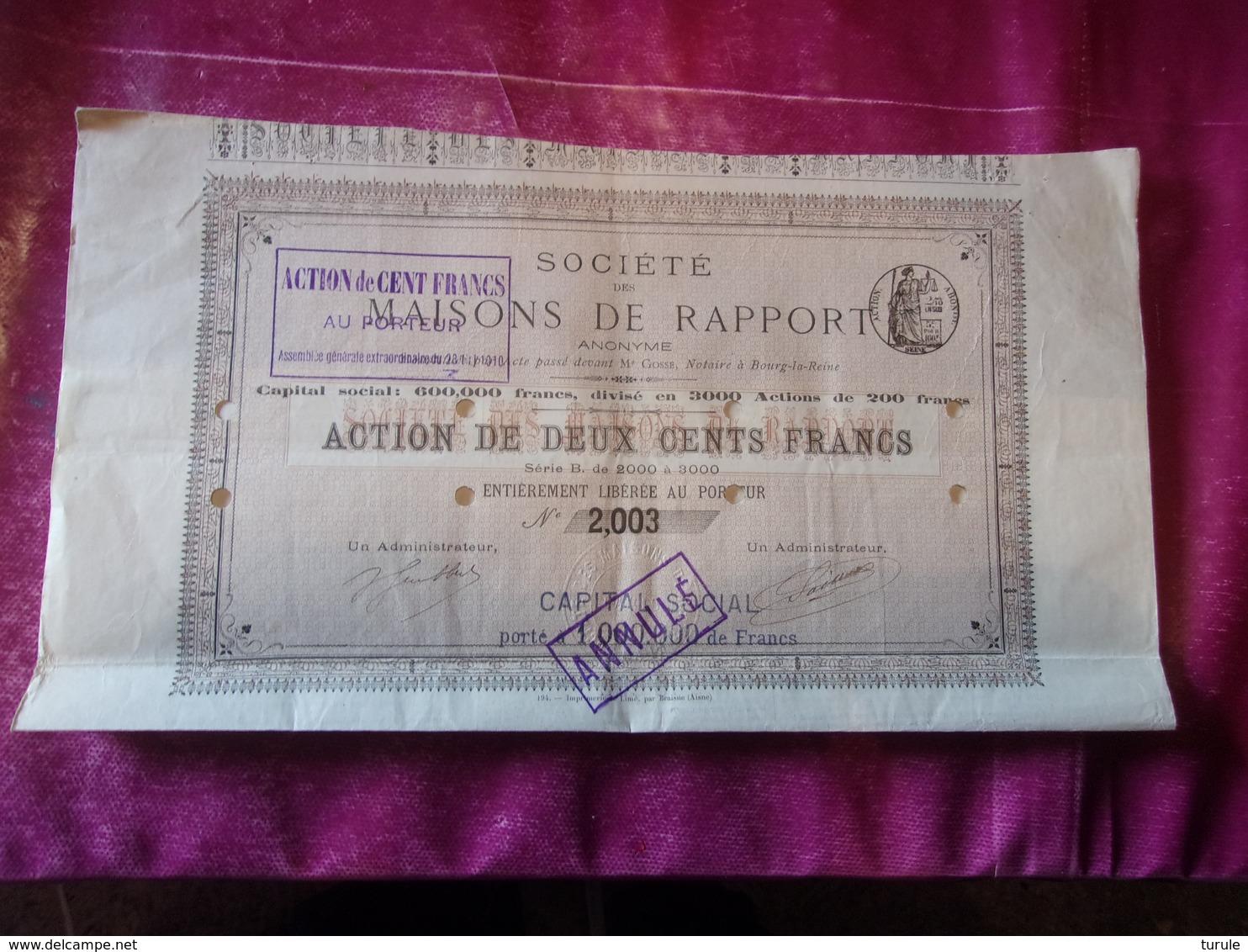 MAISONS DE RAPPORT (250 Francs) - Aandelen