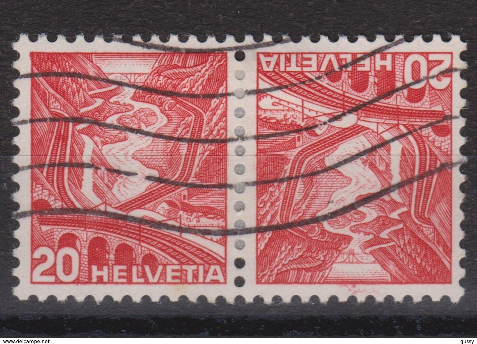 SUISSE Se-Tenant :  20c+20c Rouge (ZNr 34Ay), Oblitéré, Bonne Cote - Se-Tenant