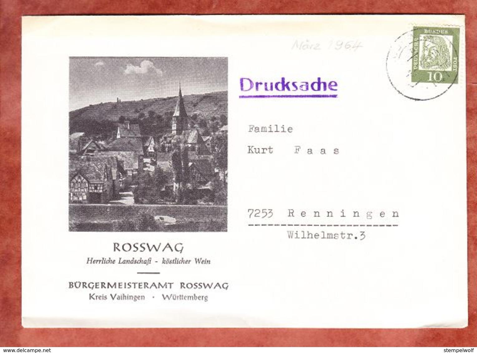 Illustrierter Umschlag, Drucksache, EF Duerer, Rosswag Nach Renningen 1964 (52838) - Covers & Documents