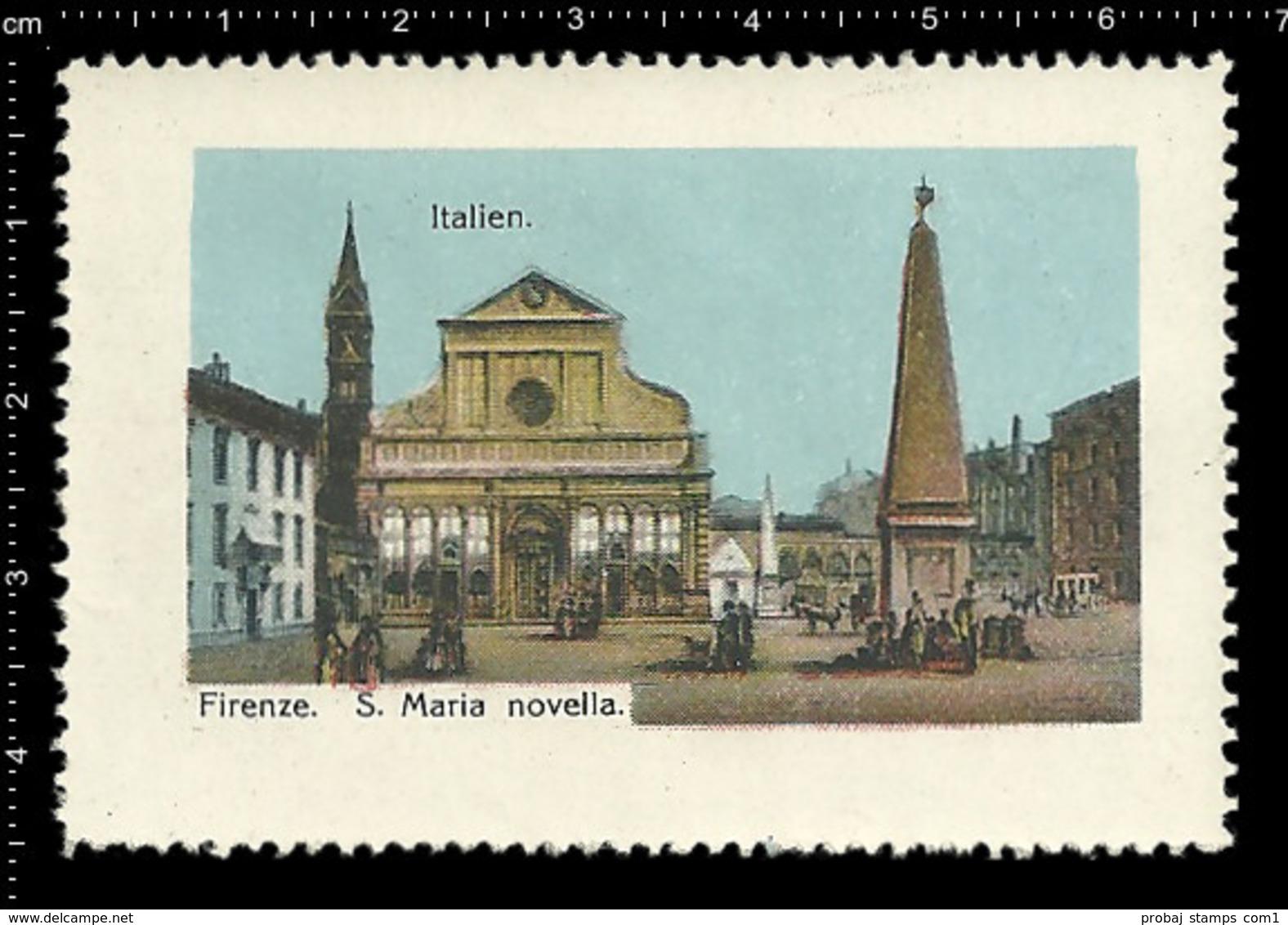Poster Stamp Cinderella Reklamemarke Vignette Erinnofili Publicité Italy Florence Firenze Santa Maria Novella Church - Cinderellas