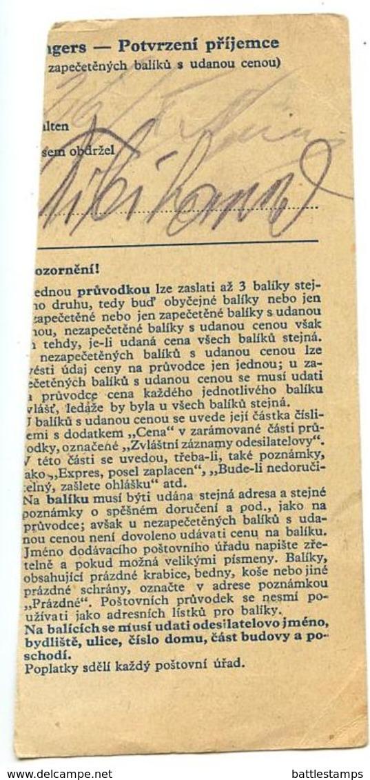 Czechoslovakia Bohemia & Moravia 1944 Parcel Card Rakovník / Rakonitz, Scott 65 & 75 - Bohemia & Moravia