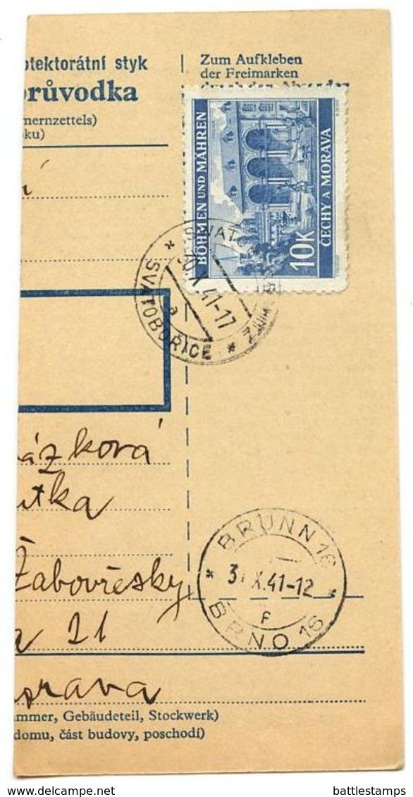 Czechoslovakia Bohemia & Moravia 1941 Parcel Card Svatkovice / Swatkowitz, Scott 47 - Bohemia & Moravia