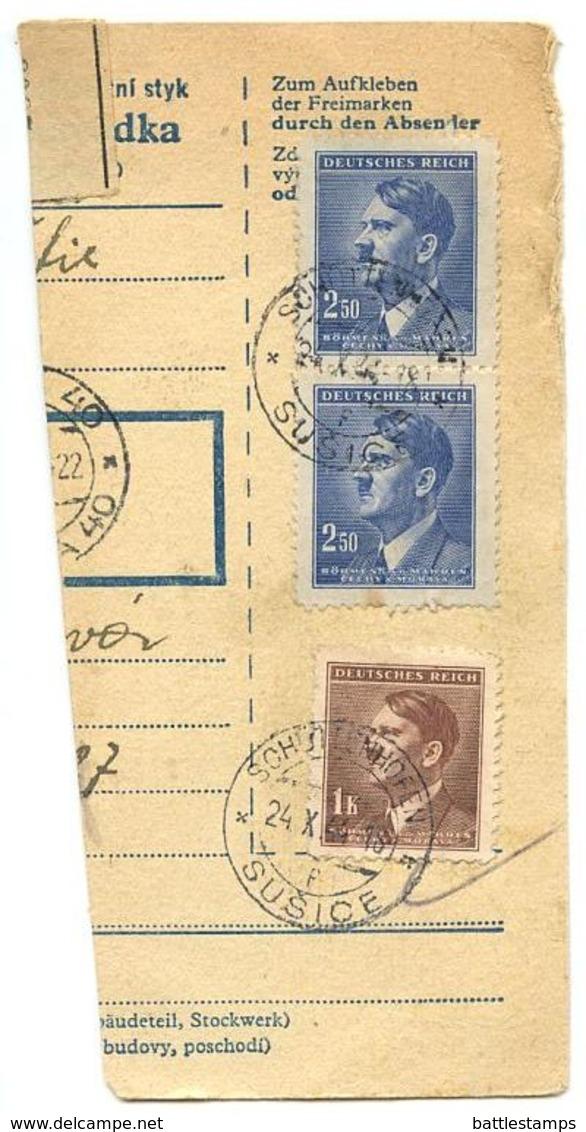 Czechoslovakia Bohemia & Moravia 1944 Parcel Card Sušice / Schüttenhofen, Scott 68 & 74 - Bohemia & Moravia