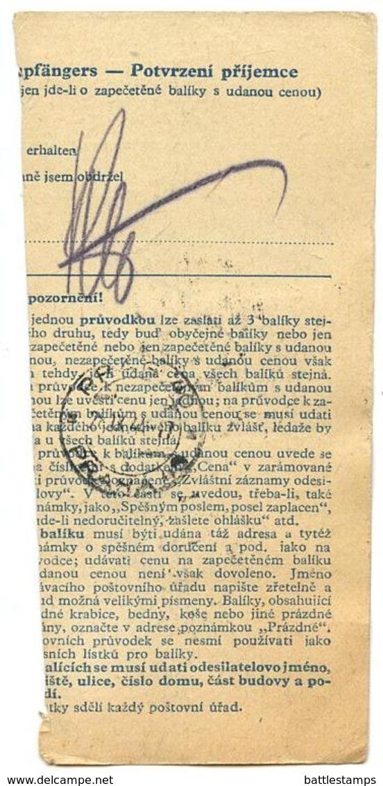 Czechoslovakia Bohemia & Moravia 1944 Parcel Card Velká Losenice / Gross Lossenitz - Bohemia & Moravia