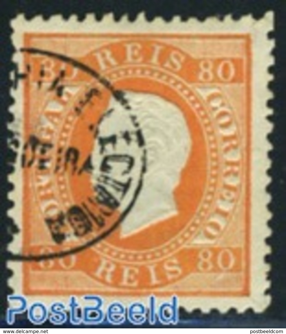Portugal 1870 80R. Orange, Smooth Paper, Perf. 12.5, Used, (Used Stamps), Stamps - 1853 : D.Maria