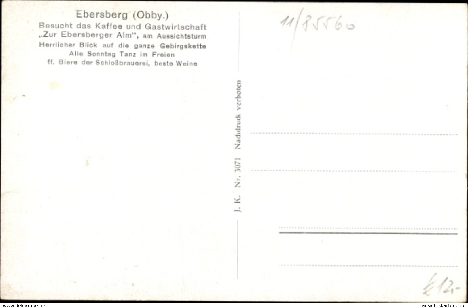 Cp Ebersberg In Oberbayern, Café U. Gastwirtsschaft Zur Ebersberger Alm, Außenansicht, Aussichtsturm - Altri