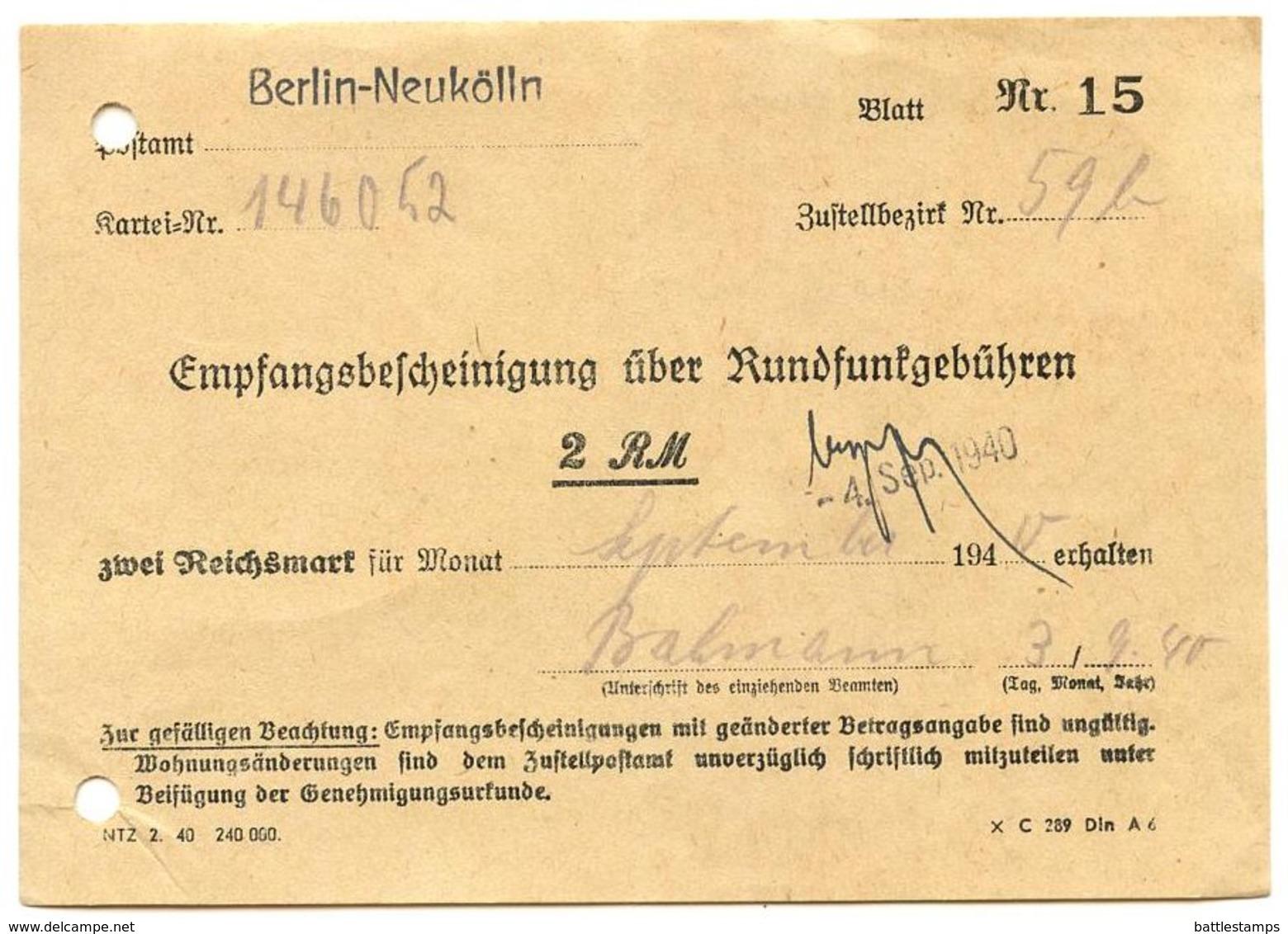 Germany 1940 Berlin-Neukölln, Empfangsbescheinigung über Rundfunkgebühren - Germany