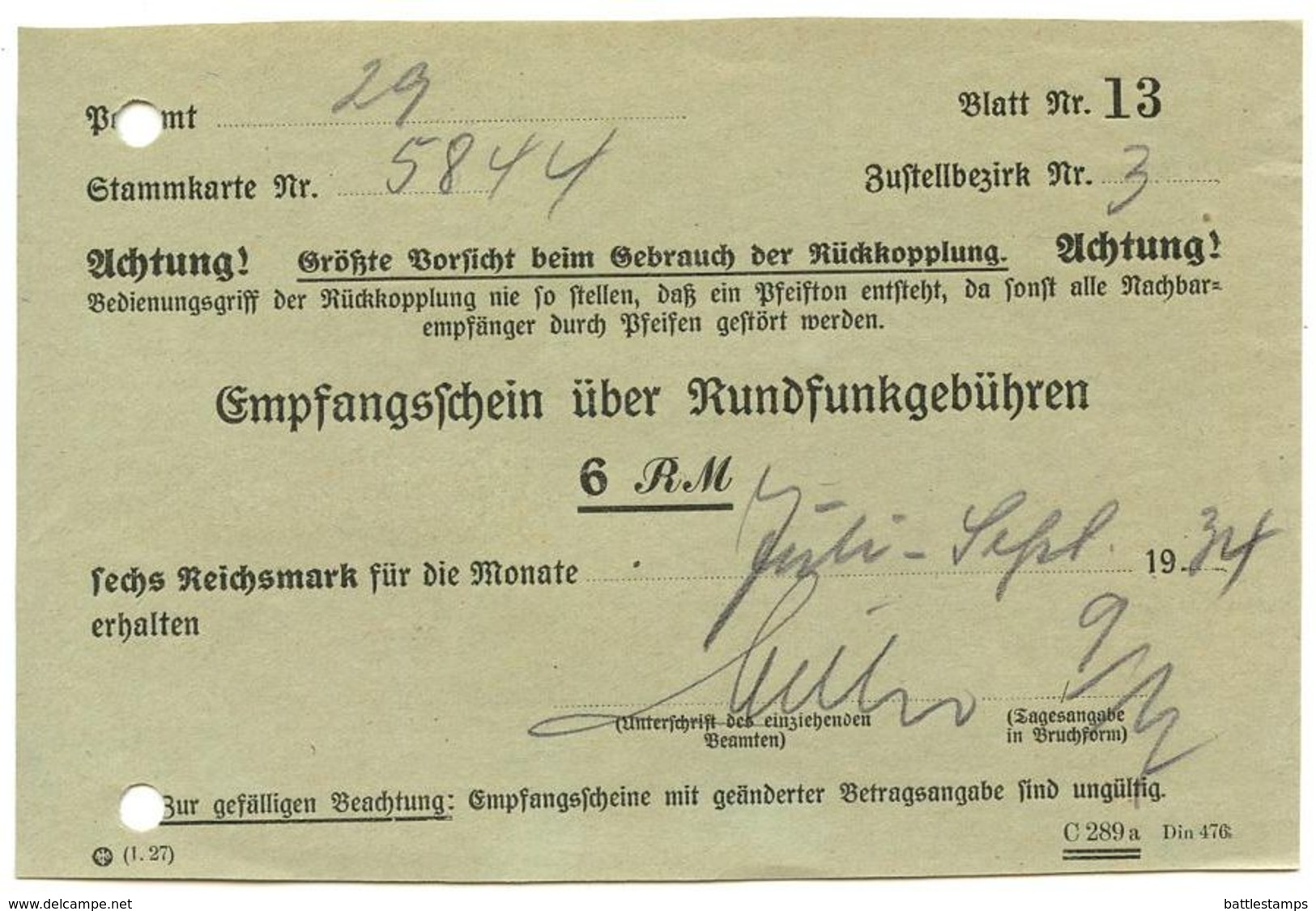 Germany 1934 Empfangsschein über Rundfunkgebühren - Germany