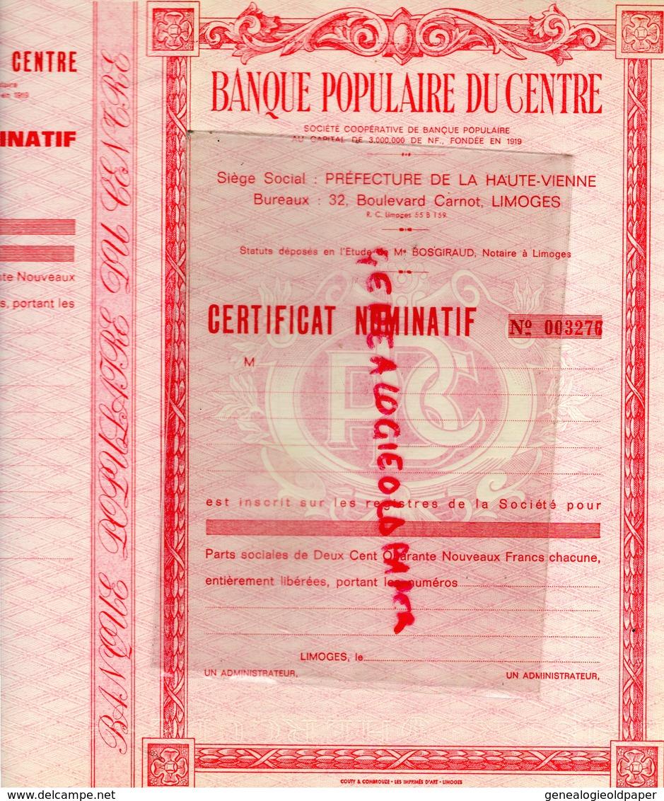 87-  LIMOGES- RARE CERTIFICAT NOMINATIF -  32 BOULEVARD CARNOT - PARTS SOCIALES DE DEUX CENT QUARANTE NOUVEAUX FRANCS - Banque & Assurance