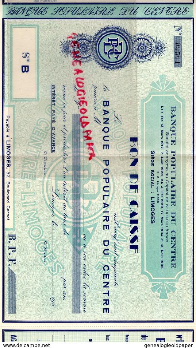 87-  LIMOGES- TRES RARE BON DE CAISSE BANQUE POPULAIRE DU CENTRE-32 BOULEVARD CARNOT - Banque & Assurance