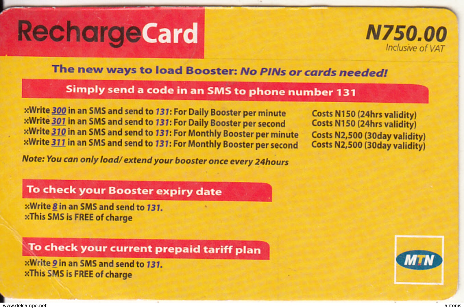 Nigeria Nigeria Mtn Recharge Card N 750 Used