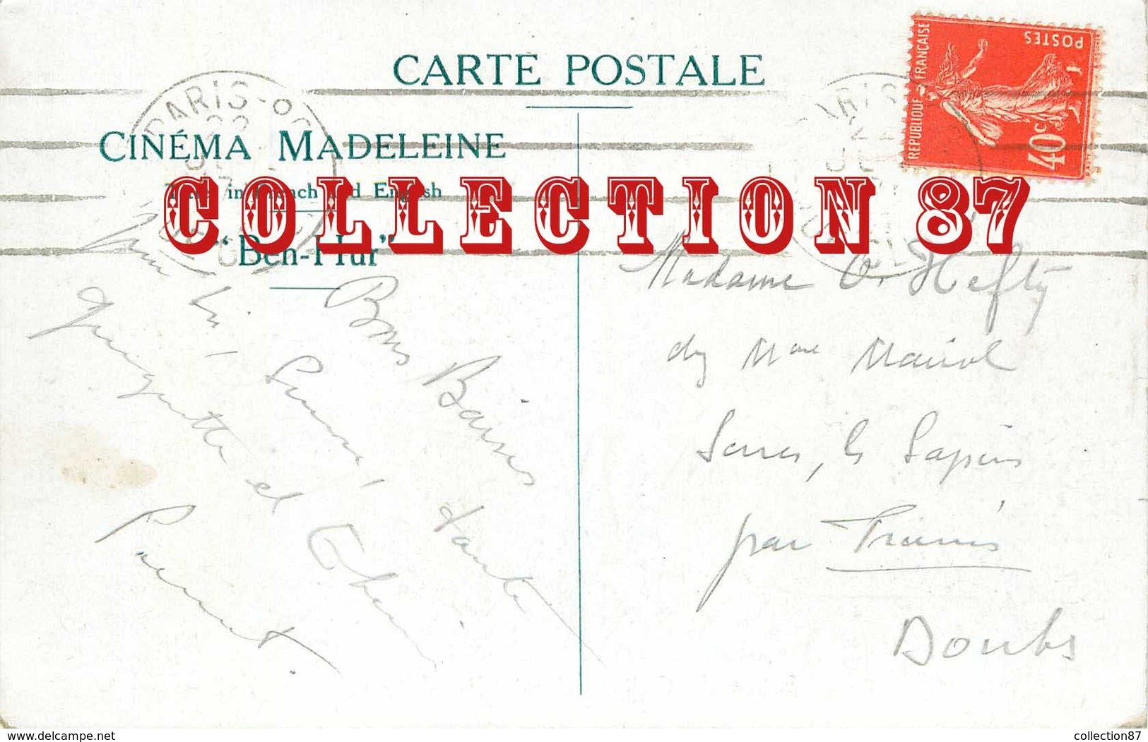 ☺♦♦ BAGNE BAGNARD < SCENE De GALERE Du FILM BEN HUR  - BATEAU  - PUBLICITE CINEMA MADELEINE à PARIS - Bagne & Bagnards