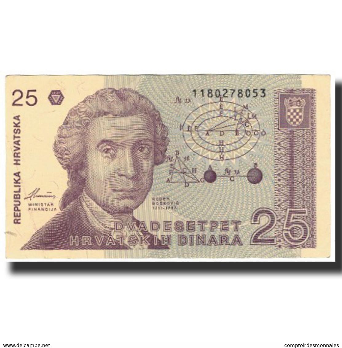 Billet, Croatie, 25 Dinara, 1991-10-08, KM:19b, SUP - Croatie