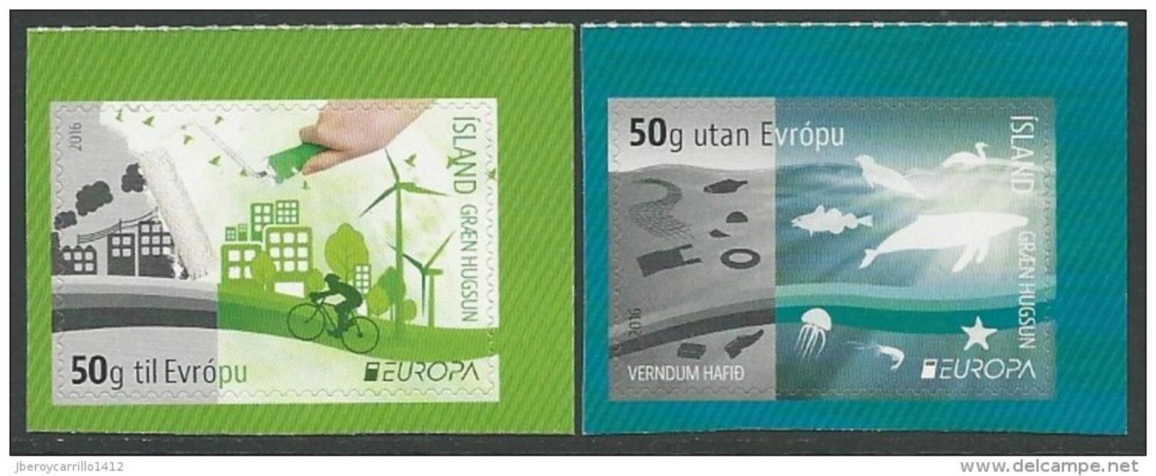 "ICELAND/ ISLANDIA / ISLAND -  EUROPA 2016 -TEMA "" ECOLOGIA - EL PENSAMIENTO VERDE - THINK GREEN"".- SET Of 2. Type B - Europa-CEPT"