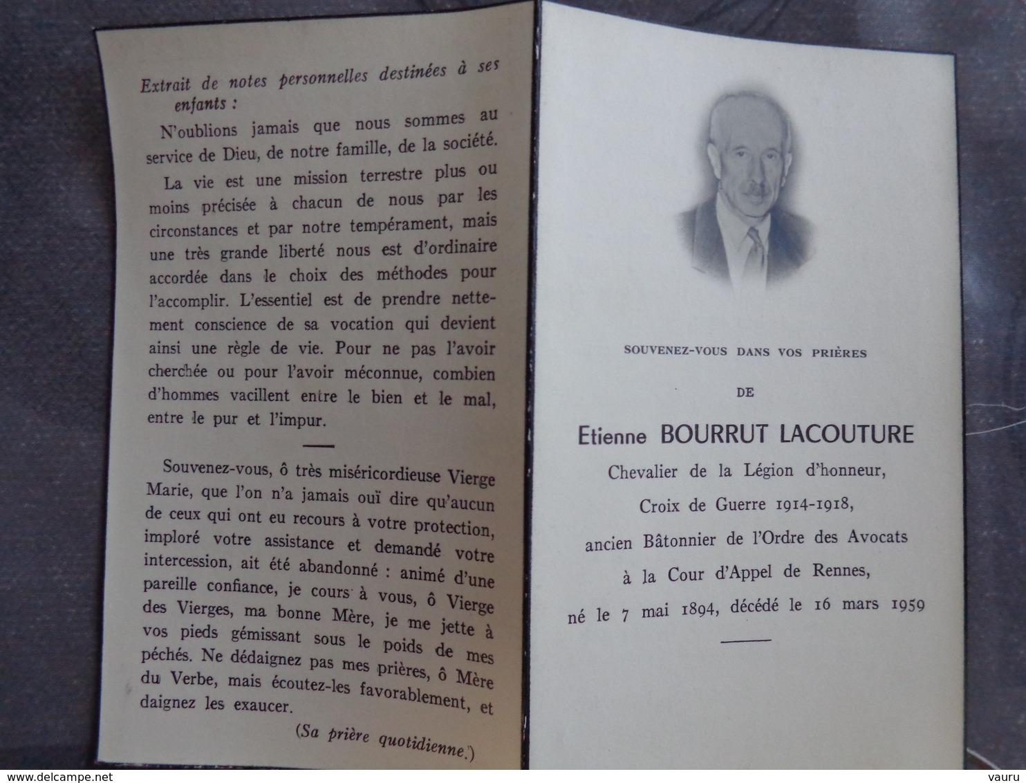 FAIRE PART DE DÉCÈS ETIENNE  BOURRUT LACOUTURE LEGION D'HONNEUR CROIX DE GUERRE AVOCAT RENNES 16 MARS 1959 - Décès