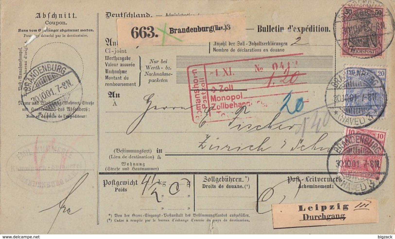 DR Paketkarte Mif Minr.56,57,61 Brandenburg 30.10.01 Gel. In Schweiz - Deutschland