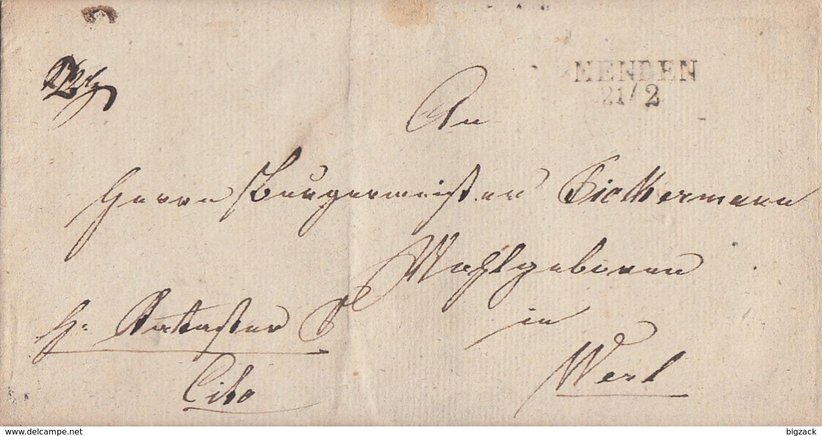 Preussen Brief L2 Menden 21.2. Gel. Nach Werl - Preussen