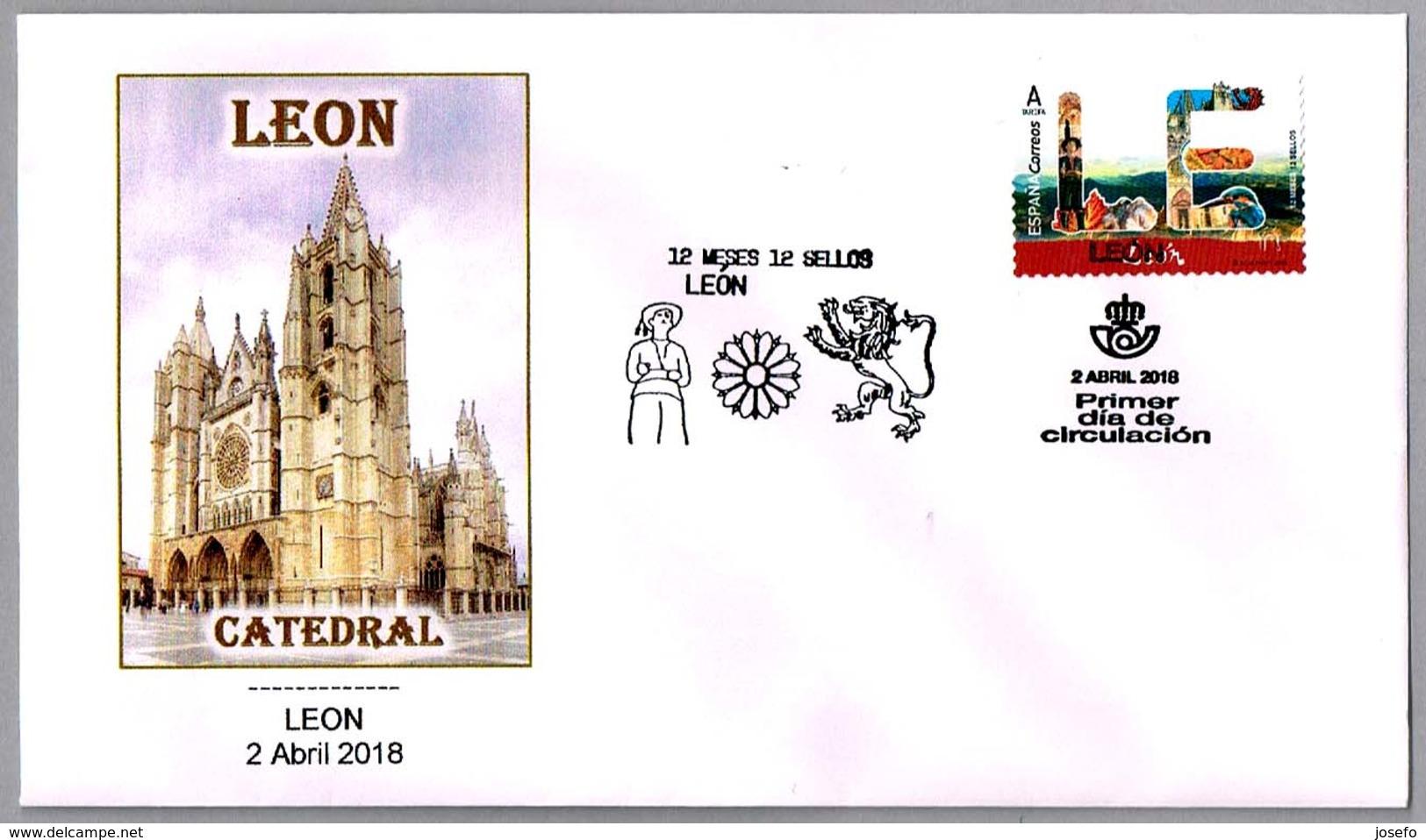 12 Meses - 12 Sellos - CATEDRAL DE LEON - Emision Con Error. SPD/FDC Leon 2018 - Iglesias Y Catedrales