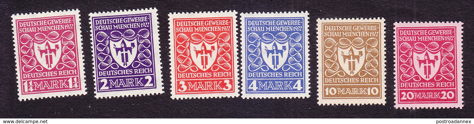 Germany, Scott #212-217, Mint Hinged, Arms Of Munich, Issued 1922 - Allemagne