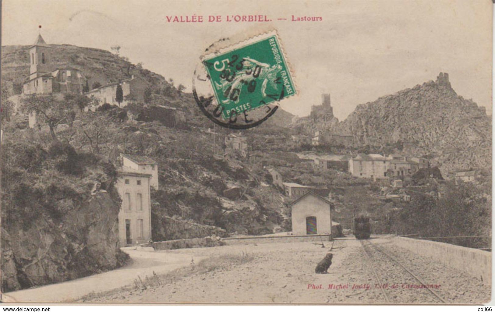 11 Lastours 1910 Vallée De L'Orbiel Gare Et Loco Petit Plan Le Chien Fait L'animation Phot Michel Jordy Carcassonne - Autres Communes