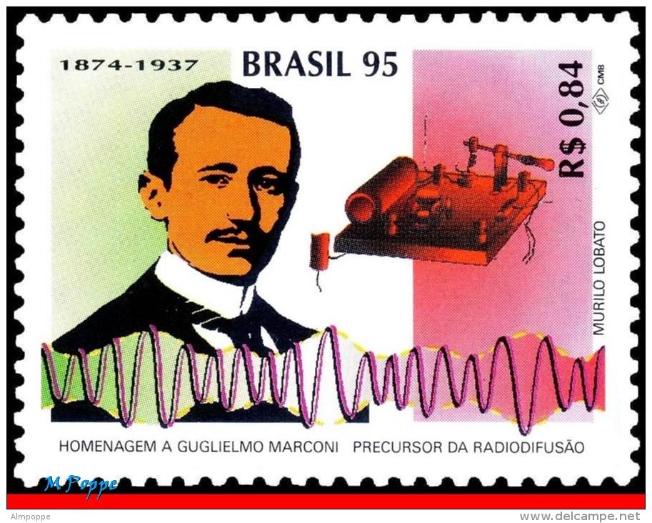 Ref. BR-2533-Q BRAZIL 1995 FAMOUS PEOPLE, GUGLIELMO MARCONI,, SCIENCE, RADIO, MI# 2642, BLOCK MNH 4V Sc# 2533 - Blocchi & Foglietti