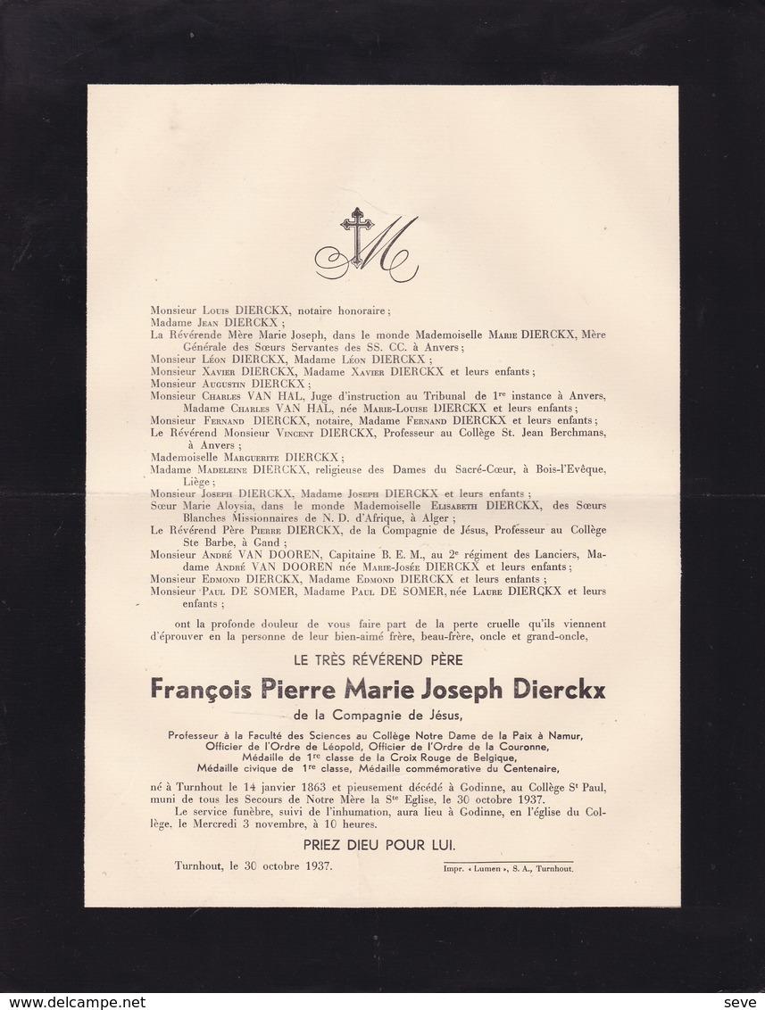 TURNHOUT GODINNE François Pierre DIERCKX Jésuite Compagnie De Jésus 1863-1937 Collège Notre-Dame De La Paix Namur - Obituary Notices