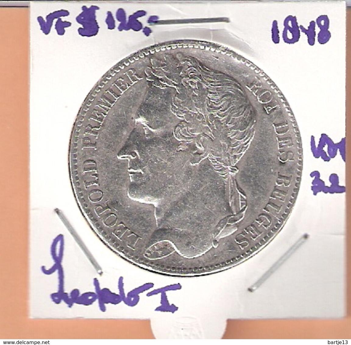 BELGIE 5 FRANCS 1848 LEOPOLD I - 11. 5 Francs