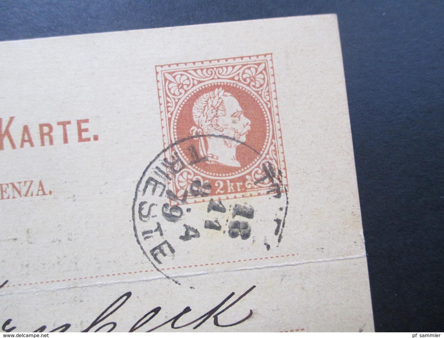 Österreich 1879 Ganzsache (Ital.) Triest. Rückseitig: Offeriren Prima Messina Apfelsinen. Triester Marktverein - 1850-1918 Imperium