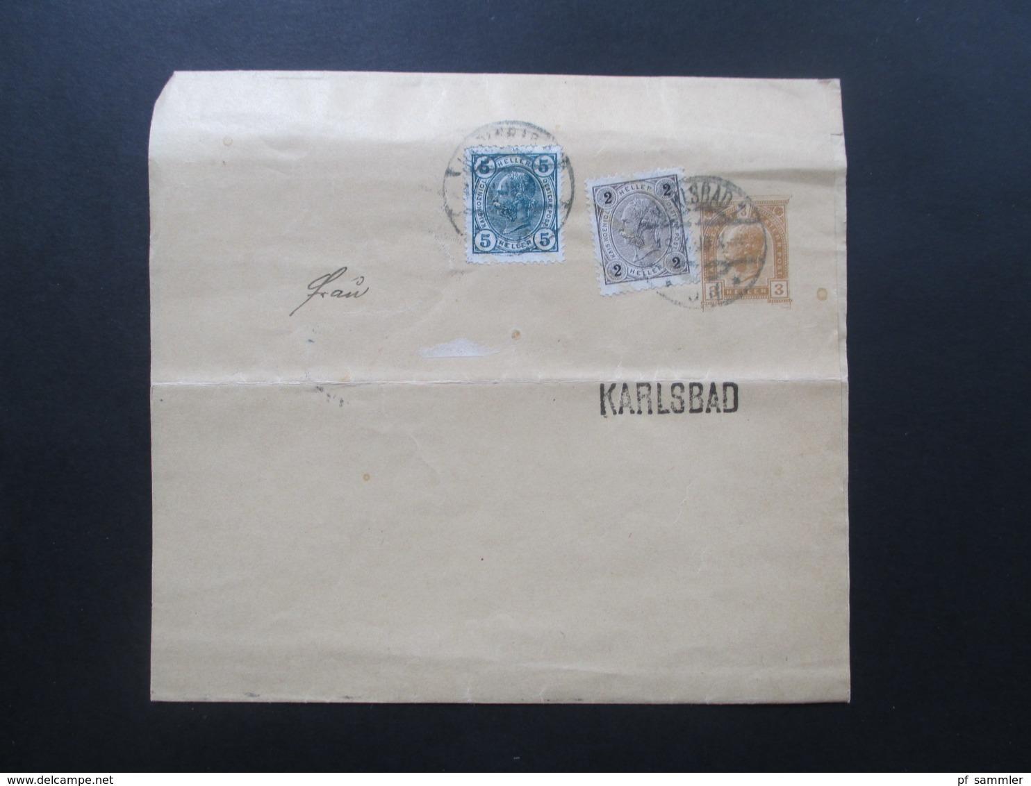 Österreich Um 1905 Großes Streifband Mit 2 Zusatzfrankaturen! Karlsbad. Ortsverkehr - 1850-1918 Imperium