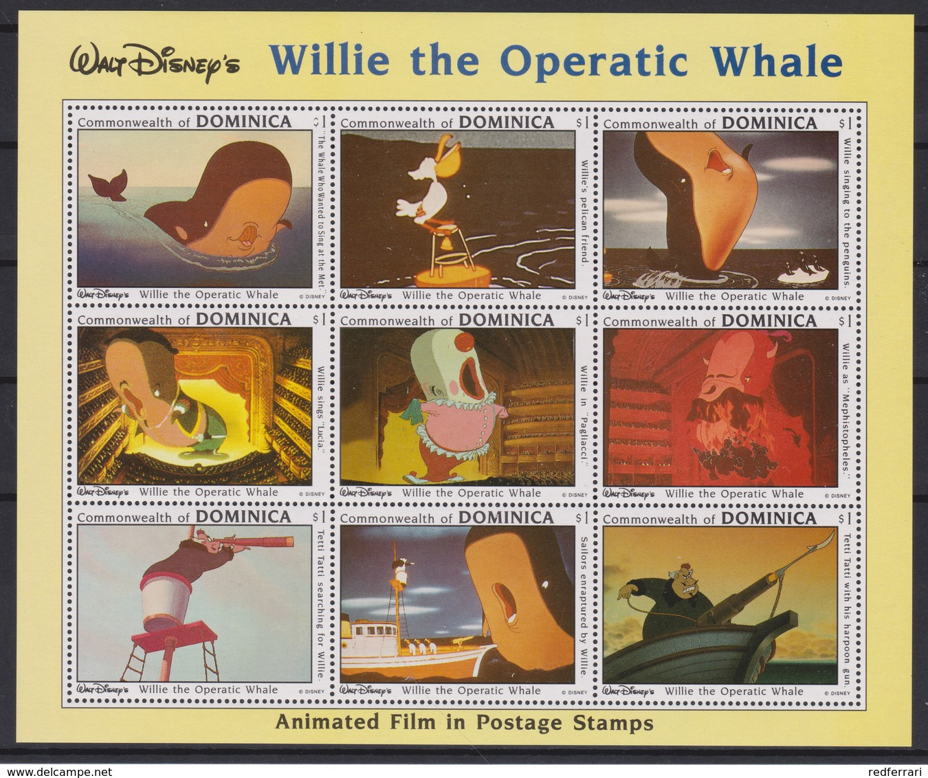 2163  WALT DISNEY  - Commonwealth Of DOMINICA  ( Willie The Operatic Whale )  Animated Film In Postage Stamps . - Disney