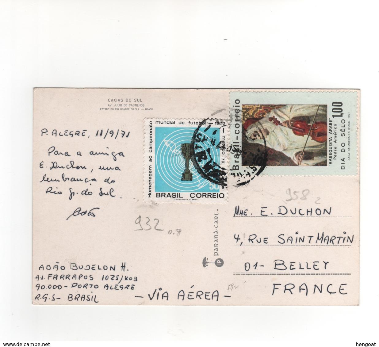 Timbres Yvert N° 932 , 958 , Sur CP, Carte Postale , Postcard Du 11/09/1971 Pour La France - Brasile