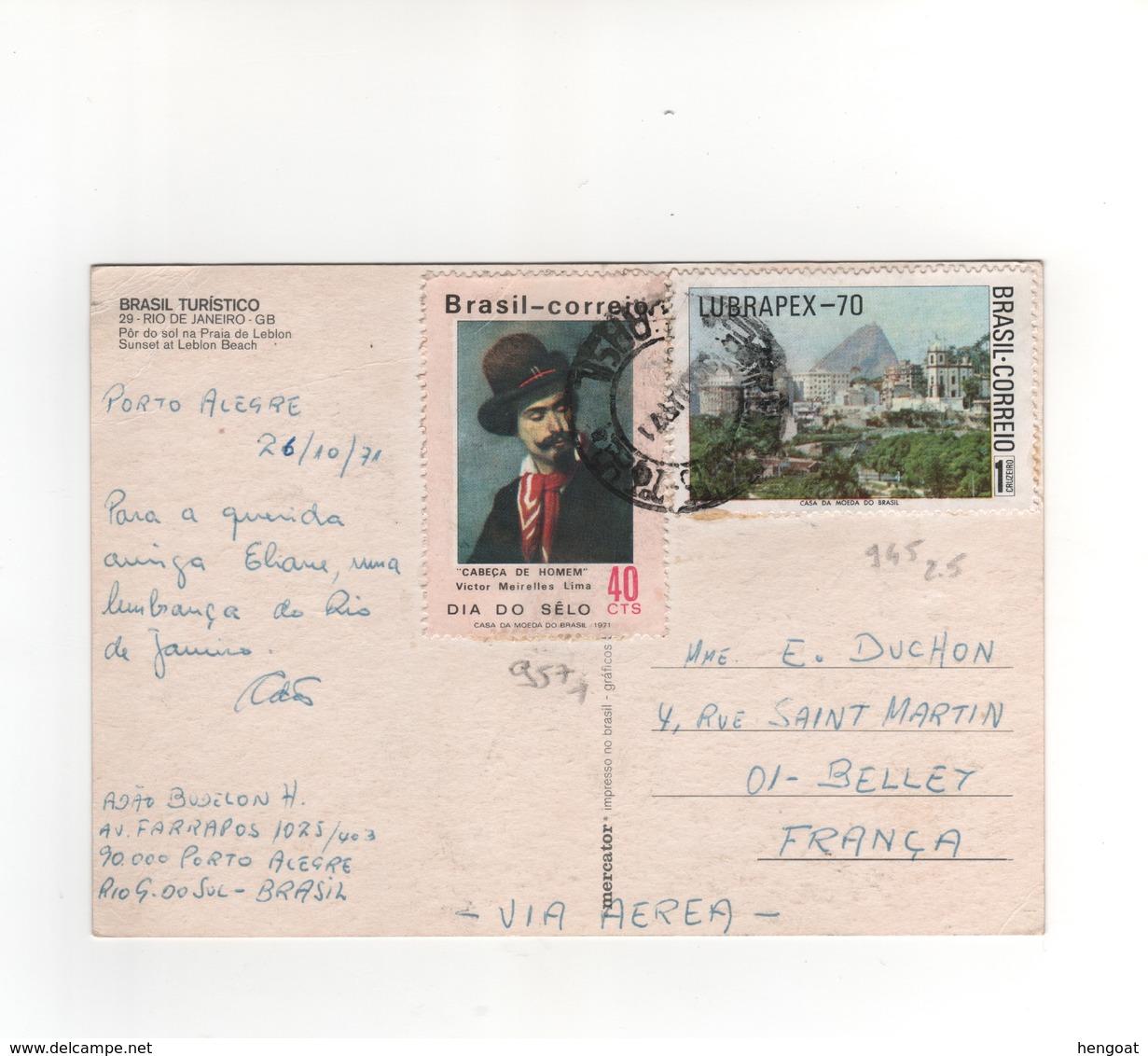 Timbres Yvert N° 945 , 957 , Sur CP, Carte Postale , Postcard Du 26/10/1971 Pour La France - Storia Postale