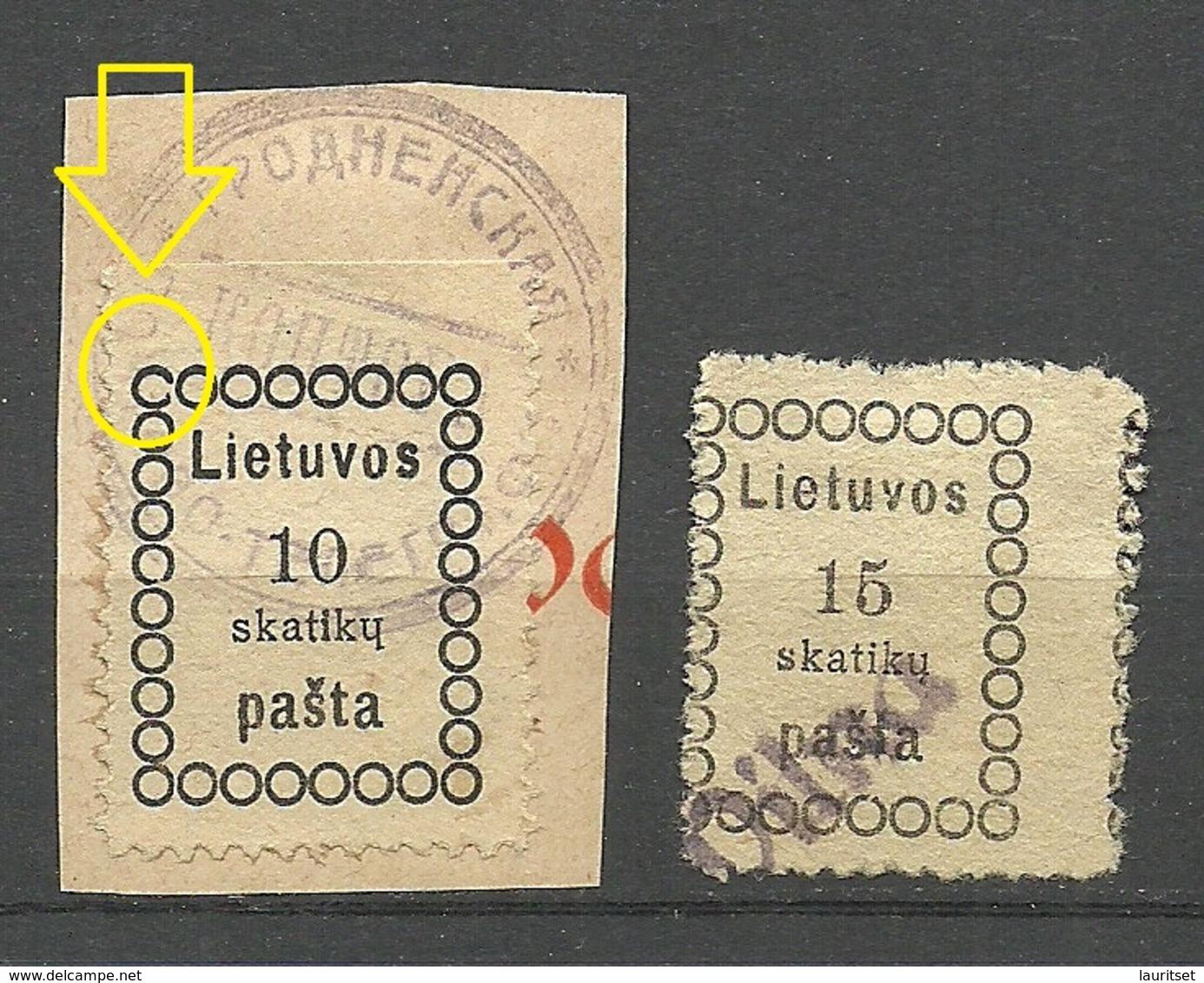 LITAUEN Lithuania 1918 Michel 1 - 2 Incl VILNA Line Cancel + ERROR Abart Variety - Litauen