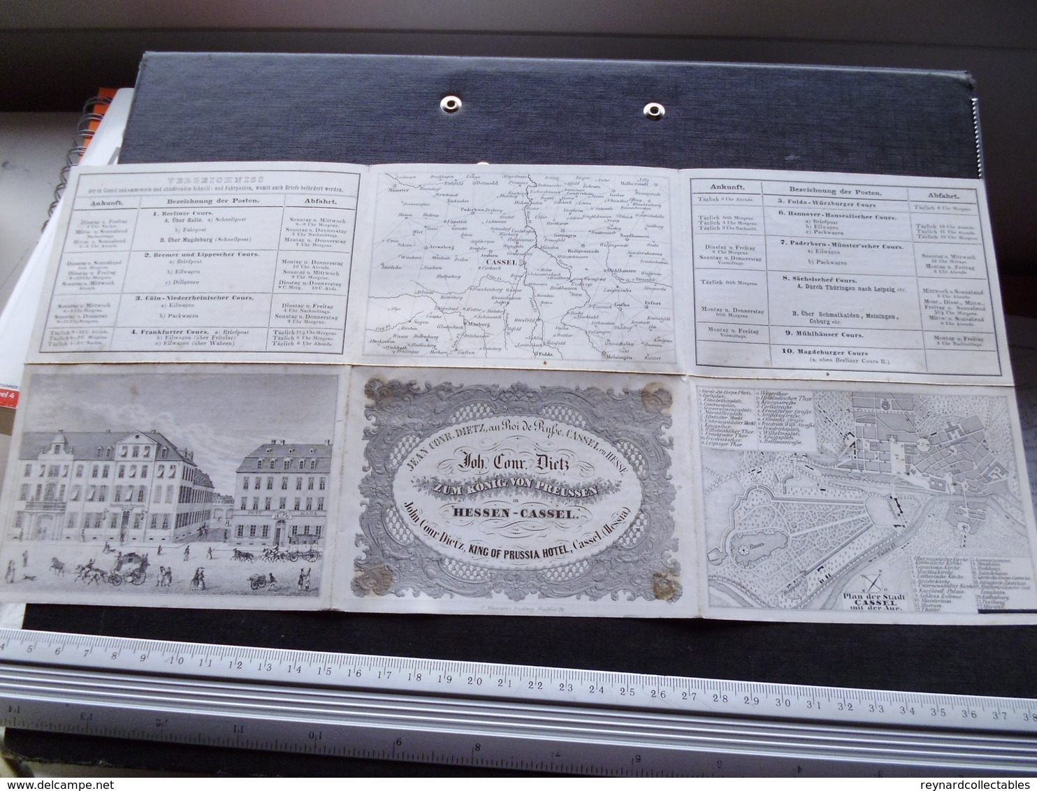 19thC Hotel Konig Von Preussen, Hessen-Cassel, Advertising Fold Out.Map Of Cassel.Post Routes++ - Advertising