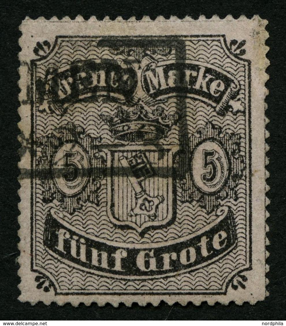 BREMEN 7B O, 1862, 5 Gr. Schwarz Auf Hellkarmingrau, Durchstich D 1II, Kleine Korrigierte Stelle Am Rand Sonst Pracht, M - Bremen