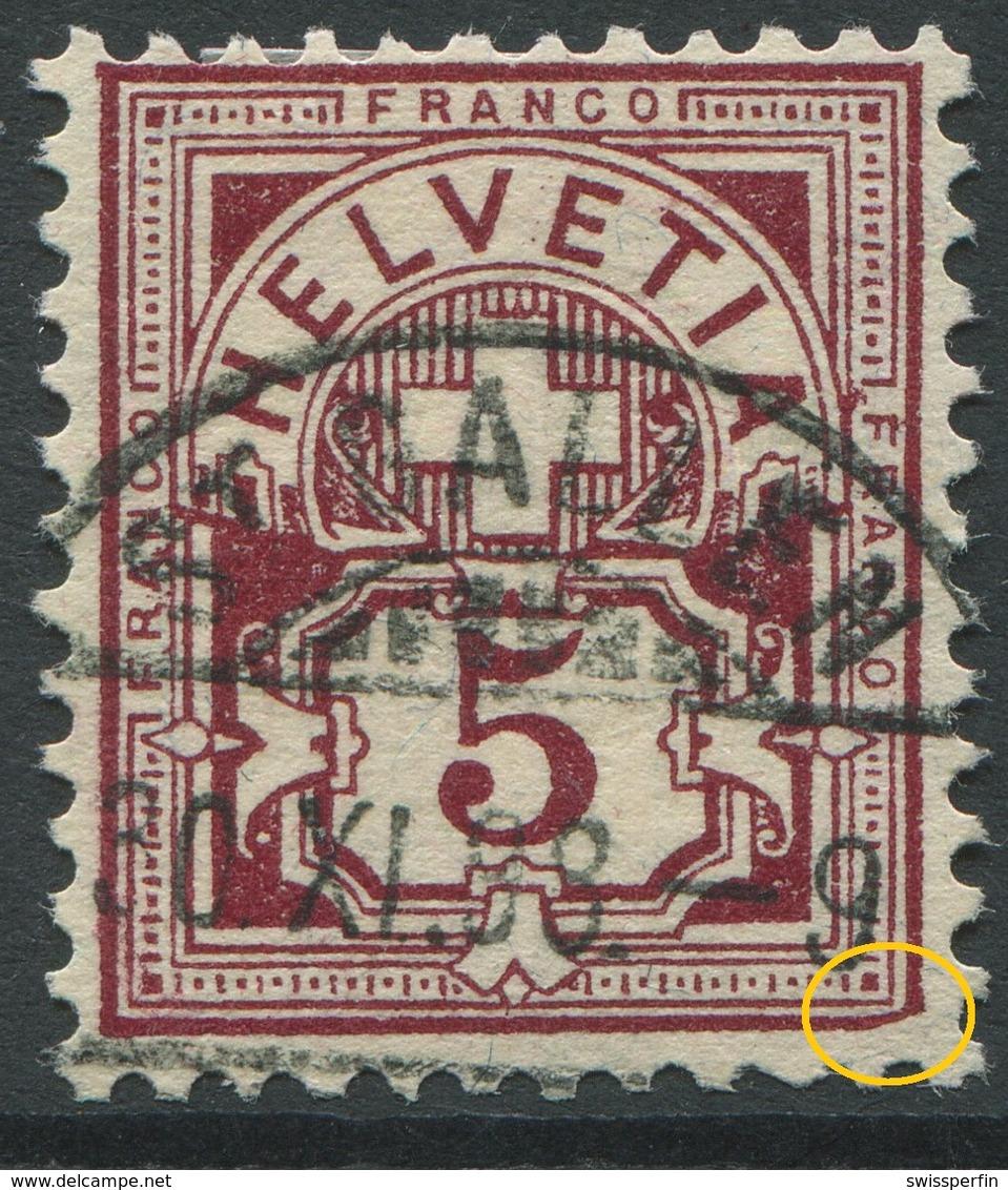 1900 - 5 Rp. Wertziffer Gestempelt - ABART Ecke Rechts Unten Abgeschrägt - Variétés