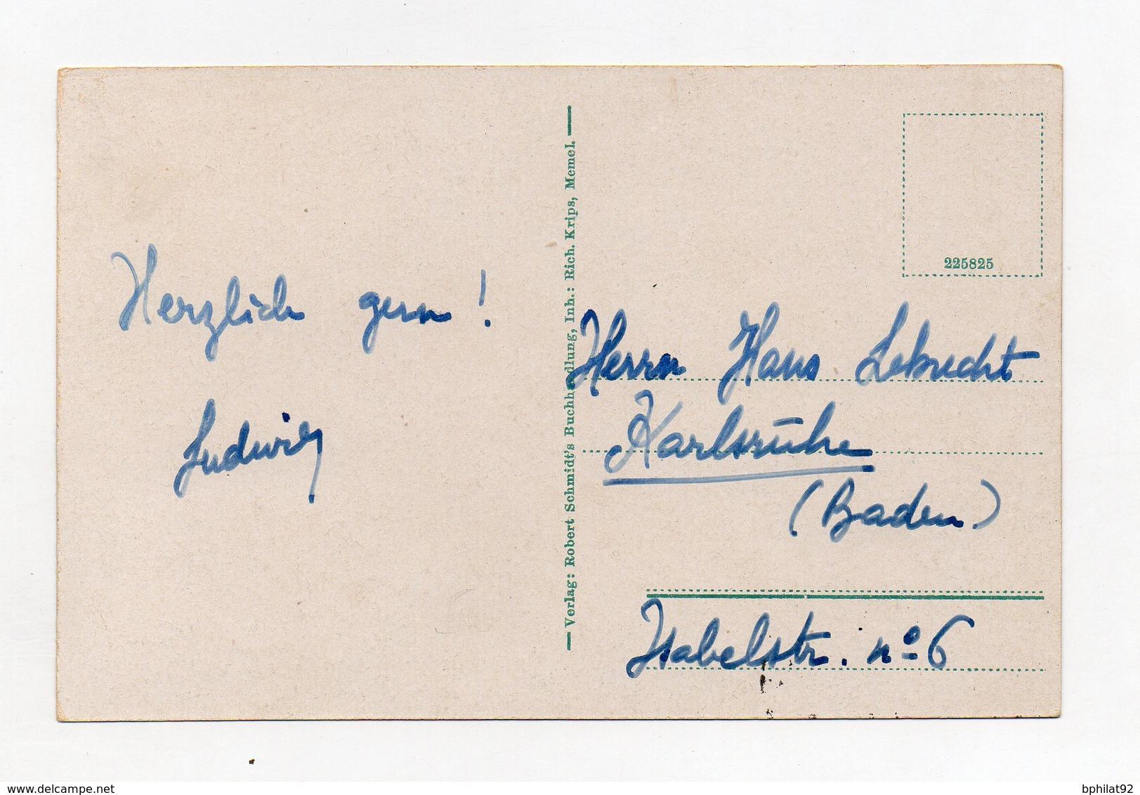 !!! PRIX FIXE : SEMEUSES SUR CPA DE MEMEL DU 11/09/1922 POUR KARLSRUHE - Memel (1920-1924)
