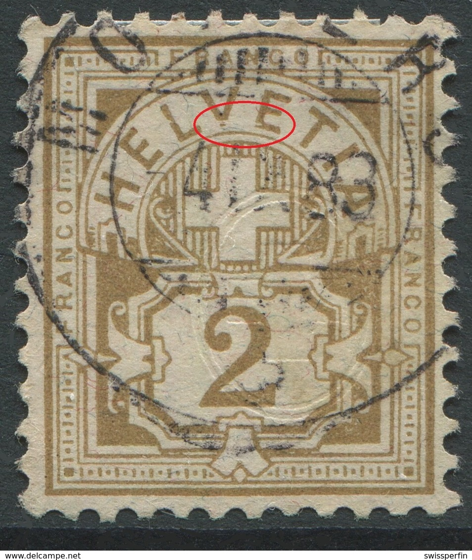 1905 - 2 Rp. Wertziffer Gestempelt - ABART VE Von HELVETIA Defekt - Variétés