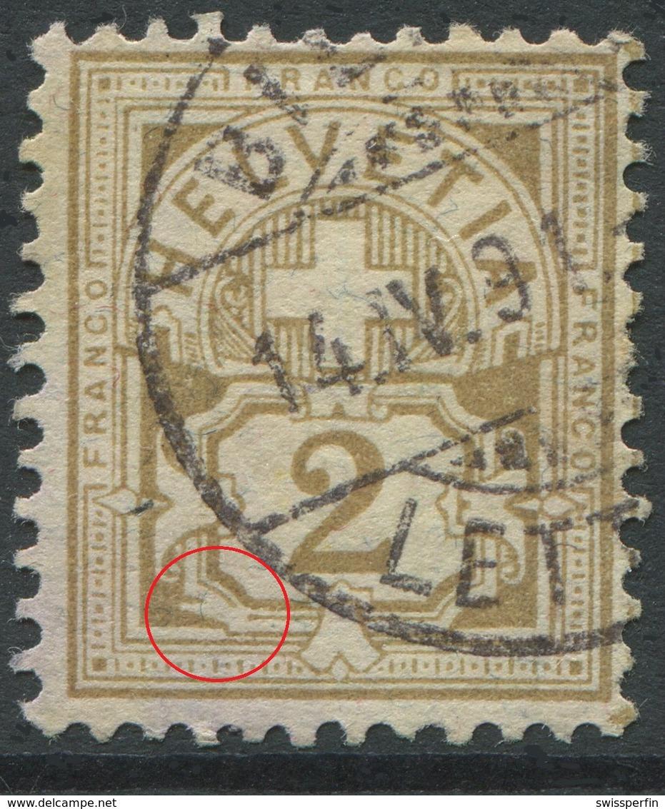 1906 - 2 Rp. Wertziffer Gestempelt - ABART Farbloser Defekt Links Des Wertschildes - Variétés
