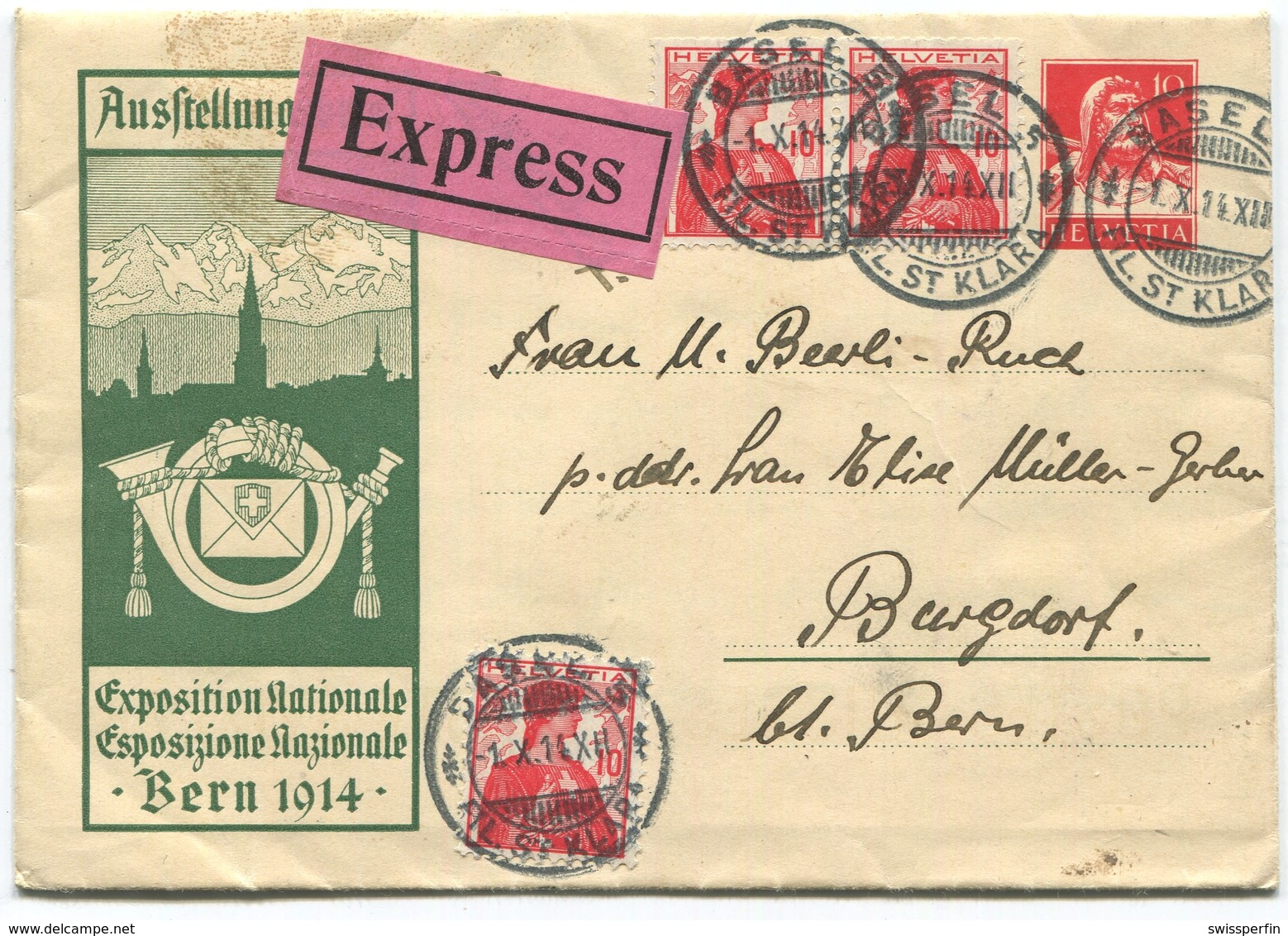 1911 - Ausstellungsbrief LANDI 1914 Per EXPRESS Von BASEL Nach BURGDORF - Entiers Postaux