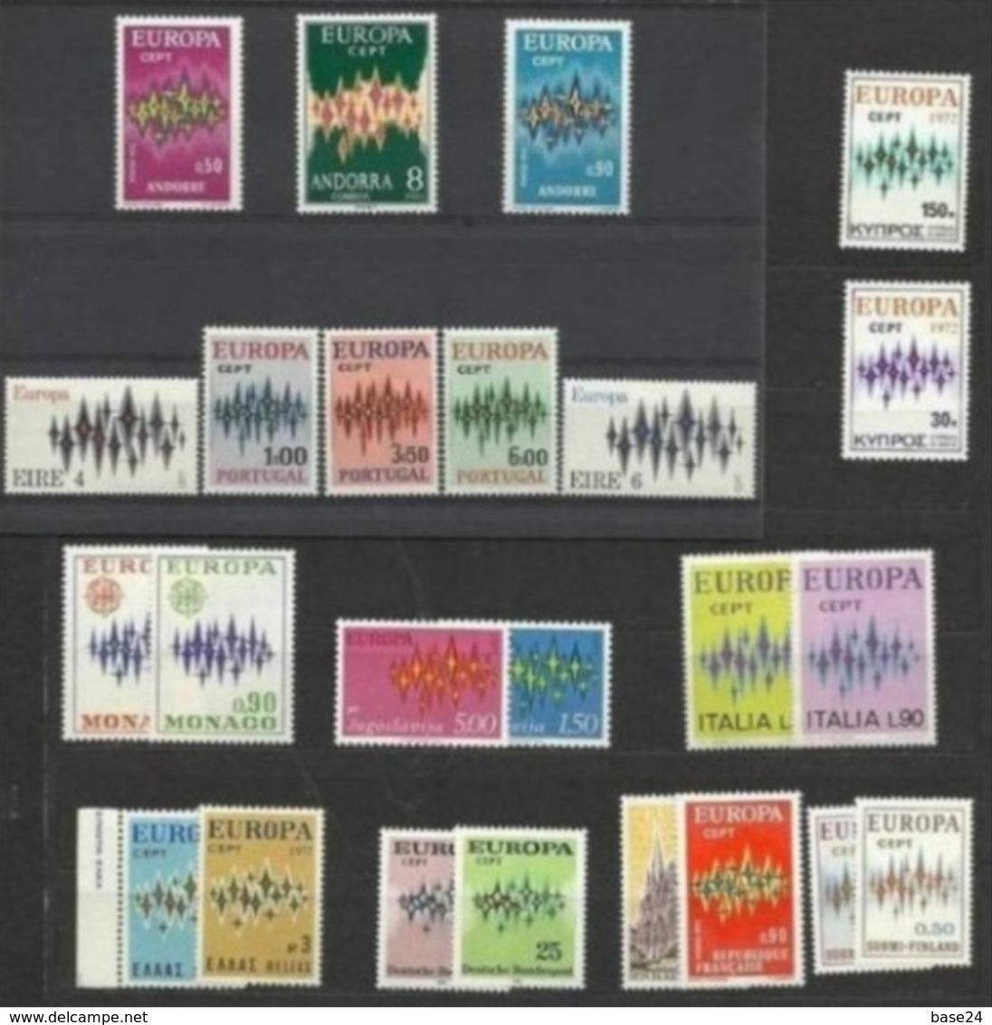 1972 EUROPA CEPT EUROPE  ANNATA  YEAR  22 Paesi (46 Valori) MNH** - Europa-CEPT